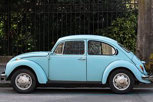 Vintage blue volkswagon beetle
