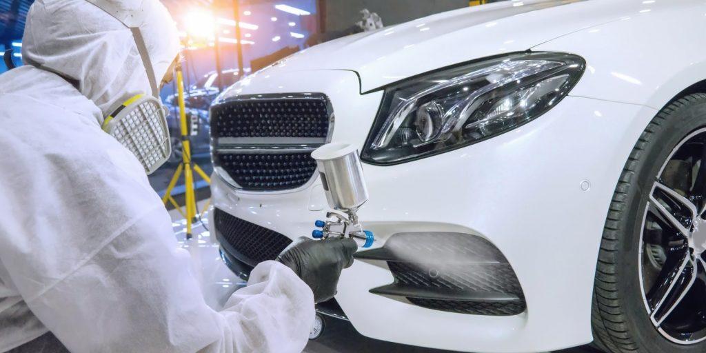 custom auto paint job car in white