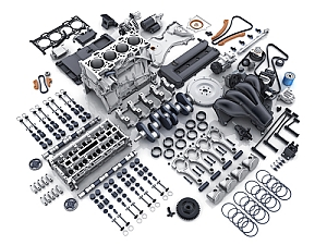 Overhead view of engine completely disassembled