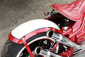 Red chrome 1950s motorcycle vintage