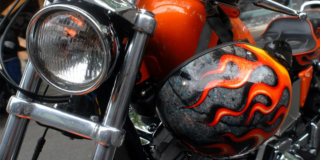 Motorcycle with painted flames
