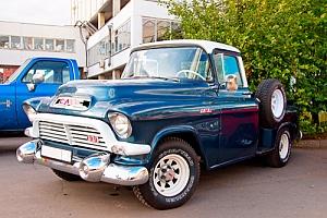 Vintage GMC truck at a car meet