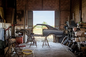 Car being built from scratch in barn