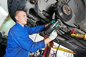 Mechanic working on truck
