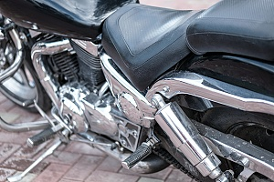 a custom motorcycle seat with black leather
