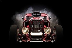 car restoration concept. 3d model of a restomod
