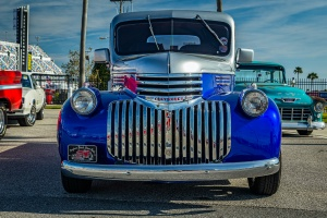 a blue antique truck restoration done