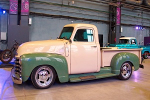 tan and green truck restoration done to look better