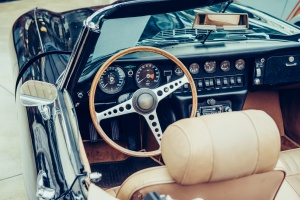 steering wheel of a classic car restoration