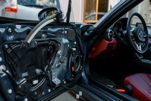 car door open and take apart on a classic car restoration