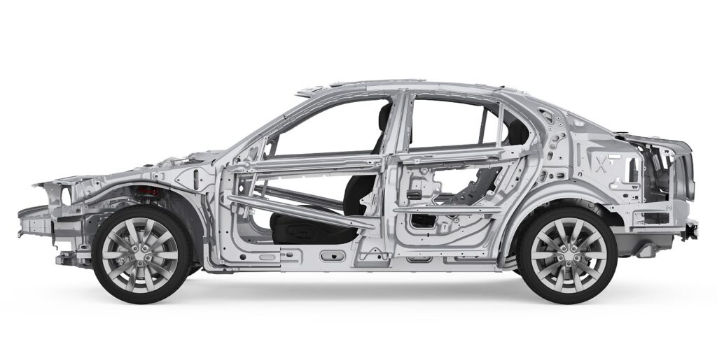 Car frame on white backdrop. Some minor car frame damage can seem too expensive to repair