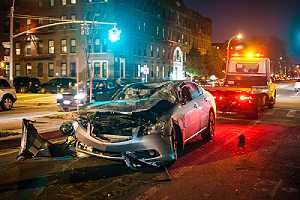 A damaged car. Most often, car frames are damaged in an auto accident