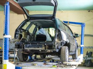 older car needing a repair auto frame