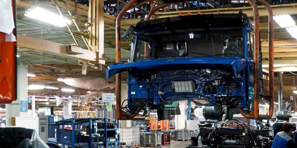 truck frame repair and assembly at the truck workshop