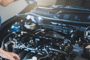 person looking at car engine