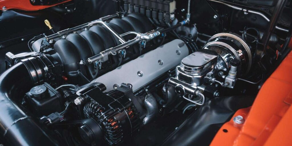 under the hood of sports car